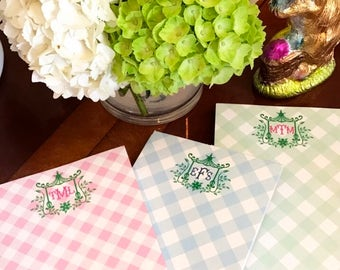 Gingham and Pagoda Notepads Personalized - Set of 2 - Monogrammed Notepads