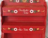 Vintage RED Wooden Toleware Folk Art Floral Kitchen Wall Mount Paper Towel Foil Wrap Holder