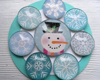 Let it Snow! Snowflake and Snowman Magnets (set of 8)