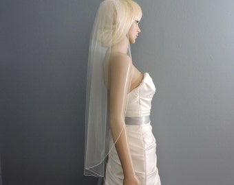 Valentine's Day Special, Sheer Wedding Veil Single Tier Rolled Edge RE50