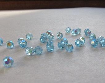 3mm Aquamarine AB Swarovski Round Beads - (50)