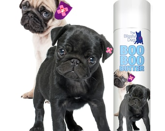 Pug Boo Boo Butter Handcrafted All Natural Herbal Balm for Your Pug's Itchy Discomforts .50 oz Tube with Boo Boo Pug Duo Label in Gift Bag