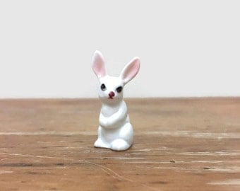 Vintage White Rabbit Figurine - Miniature Bone China - Ceramic Animal - Easter Decor