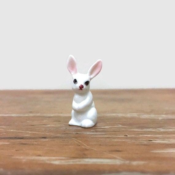 Vintage White Rabbit Figurine - Miniature Bone China - Ceramic Animal - Easter Decor