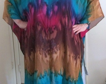 Silk Caftan Hand Dyed Extra Large Island Sunrise Long Caftan