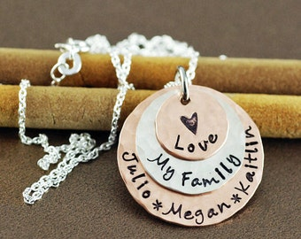Hand Stamped Personalized Necklace, Love My Family/Boys/Girls, Layered Copper & Sterling Silver Discs, Hammered, Baby Feet