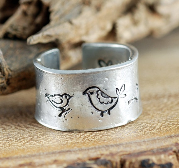Mama Bird Ring, Gift for Mom, Secret Message Ring, Hand Stamped Quote Ring, Love my Babies, Custom Ring, Inspirational RIng, Ring for Mom