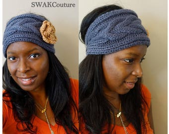 Knit Wide Head Wrap Ear Warmer Cable Knit Headband Charcoal Gray & Camel or CHOOSE Your color
