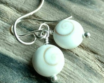 South Sea cats eye operculum Eye of Shiva earrings - sterling silver shell handmade jewelry