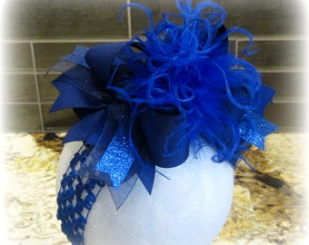 Royal Blue Over the Top Bow, Baby Headbands, OTT Bows, Blue Hair Bow, Royal OTT Bow, Girls Hair Bow, Boutique Bow, Large Hairbow, Big bows