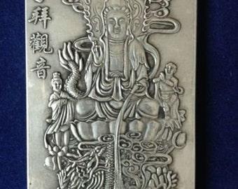 Tibetan Miao Silver Quan Yin Goddess of Mercy Thangka Talisman Amulet