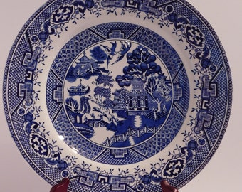 Staffordshire Blue & White Willow Dinner Plates Old Willow British Anchor England