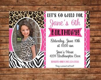 Girl Photo Picture Animal Print Zebra Leopard Safari Wild Zoo Party Birthday Invitation - DIGITAL FILE