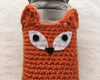 Fox Mason Jar Cozy Cover Crochet Sleeve Bottle Pint Quart Cup Mug Drink Holder Glass Jar Gifts Vase Storage Container Woodland Animal