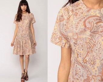 1960s Mod Dress SCOOTER 60s Mini Drop Waist Paisley Print Space Age Shift Pleated Vintage Sleeveless Minidress Twiggy Grey Medium Large