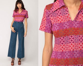 Button Up Shirt Boho Blouse 70s Psychedelic Print Polo Hippie Psychedelic 1970s Top Short Sleeve Bohemian Vintage Pink Purple Small Medium