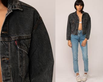 Black Denim Jacket LEVIS Jean Jacket 80s Levi Jean Jacket Trucker Jacket Biker Hipster Grunge 1980s Vintage Button Up Coat Extra Small xs