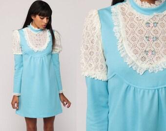 Babydoll Dress 70s Mini BIB Lace Baby Blue 60s Mod Boho Dolly Lolita Pastel Goth Bohemian Empire Waist Victoria Vintage Small