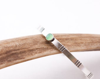"Bright green peridot and sterling silver thin modern cuff bracelet with chisel lines perfect for stacking or wearing alone - ""Sage Cuff"""