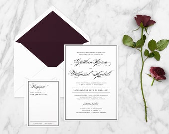 The 'Madelyn' Romantic Calligraphy Wedding Invitation Suite (Sample)