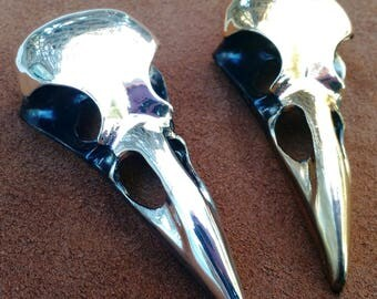 Large Metal Raven or Crow Skull Pendant Brass or Nickel Finish