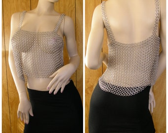 "Chainmail top, Tunic, unisex, this piece has beautiful drape, one size fits most, 39"" around, 11"" long, straps are 16"" long and 1"" wide"