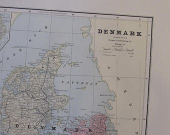 1891 Map- Denmark - Atlas Page 14.5 x 22 in Great for Framing