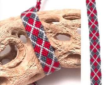 Friendship bracelet - argyle - red - gray - embroidery floss - string - thread - knotted - macrame - woven - plaid - grey - diamonds