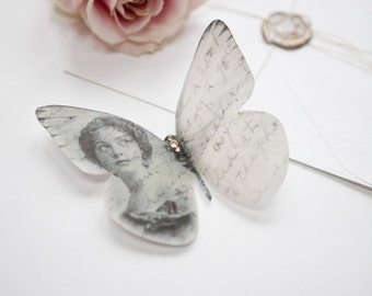 Silk Memory butterfly personalised with your image, a beautiful handmade keepsake to treasure, gift or frame. Wedding, Sympathy, Memorial.