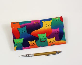 Cats Checkbook Cover for Duplicate Checks, Pen Holder, Bright Cats Cotton Fabric, Cheque Book Cover