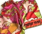 "Vintage 1970s Peter Max Japan Silk Scarf 42x14"" Psychedelic Rainbow Celestial Stars Sky / Framable Wearable Art, Lime Green Orange Fuchsia"
