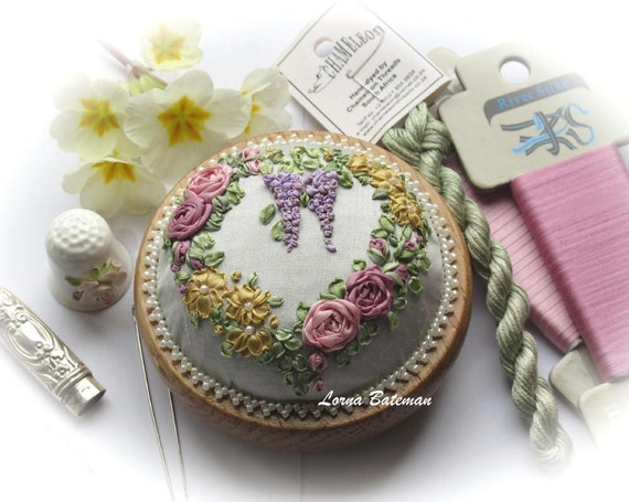 Silk Ribbon - PP9 Victorian Roses and Wisteria Pincushion - Full kit