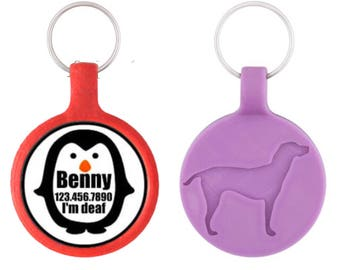 Penguin Personalized Dog ID Pet Tag Custom Pet Tag You Choose Tag Size & Colors