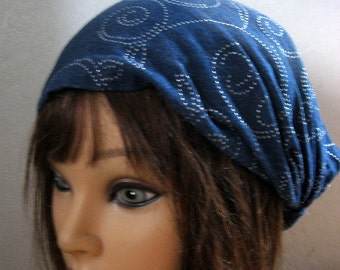 50's Headband, Tie Up Head Scarf, Denim Hair Band,  Women Head Wrap, Rockabilly Headbands, Blue DENIM Hairband,  Turban Chemo Wrap