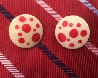 Vintage White And RED POLKA Dot Clip On Earrings / 60s Round Red And White Polka Dot Earrings
