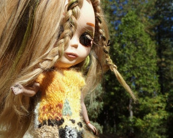 Hand Spun, Dyed, Knit, and Embroidered Sweater Vest for Blythe