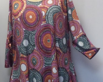 Plus Size Top, Coco and Juan, Lagenlook, Plus Size Tunic, Pinwheel Print Knit Drape Side Tunic Top One Size Bust  to 60 inches