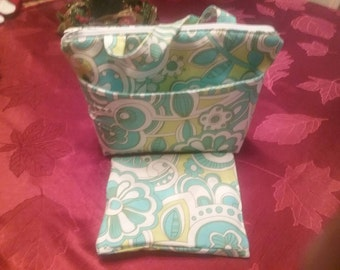 Insulated Lunch Bag Set With Sandwich Bag, park slope Fabric, summer camp, beach bag, picnic bag