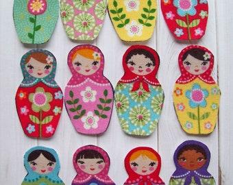 6 Matryoshka Doll Appliques, Russian Doll, Babushka Doll, Iron On Appliques, Scrapbook supply, Girl Applique, Baby Applique, Craft Supply