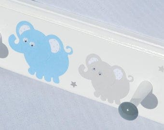 Children's Personalized Coat Rack . Elephants in Blue and Gray . Finnley