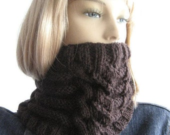 Dark Brown Cowl Lace and Cables Brown Neckwarmer Hand Knit Cowl