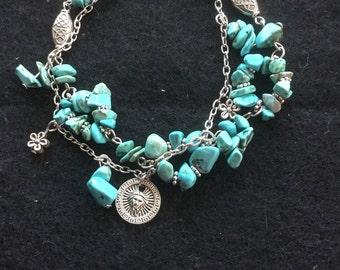 Vintage Anne Klein 2 Strand Turquoise Stone Bracelet