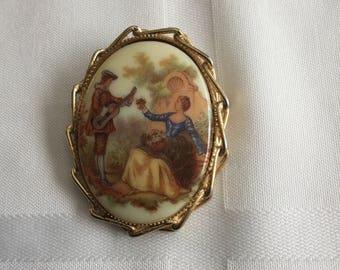 Vintage Victorian Revival Porcelain Portrait of Courting Couple Pin Pendant