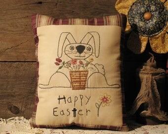 Happy Easter Primitive Rabbit Pillow, Primitive Decor, Folk Decor, Easter Decor