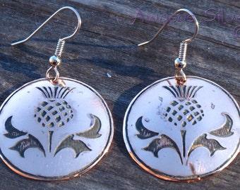 Scottish Thistle Copper Earrings.