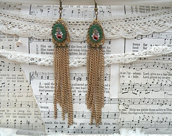 micro mosaic tassel earrings assemblage fringe upcycled vintage jewelry long green floral