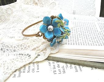 summer flower bangle bracelet assemblage wrist corsage enamel flower upcycled vintage jewelry pin