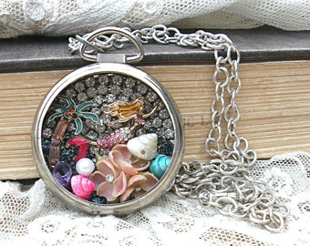 diorama necklace mermaid pocket watch assemblage nautical beach ocean romantic cottage chic