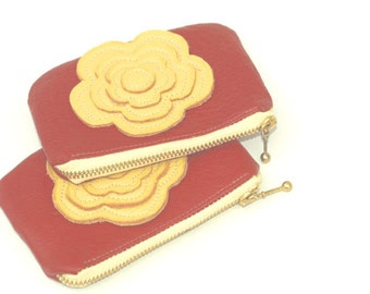 Black friday Leather Bag Change Pouch in Lipstick red and yellow Coin Pouch Gift Idea christmas Accessories