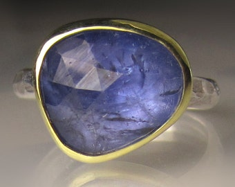 Rose Cut Tanzanite Ring, 18k Gold and Sterling Silver, Tanzanite Cocktail Ring